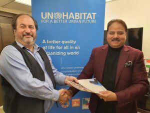 Douglas Ragan-UN-HABITAT and Deepak Dwivedi -Chairman, Nagrik Foundation exchange of MoU, a mark of SDG17 partnerships for goals