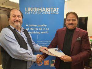 Douglas Ragan-UN-HABITAT and Deepak Dwivedi -Chairman, Nagrik Foundation exchange of MoU, a mark of SDG17 partnerships for goals